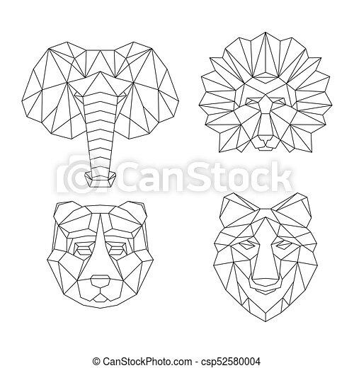 polygonal  g u00e9om u00e9trique  animaux animaux  lin u00e9aire  lion elephant clip art black and white elephant clip art images