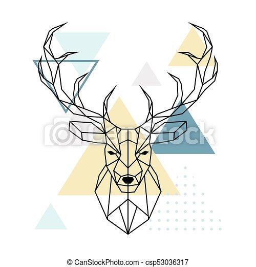 Polygonal Head Cerf Style Scandinave Illustration Cerf Scandinave Polygonal Vecteur Head Style Canstock
