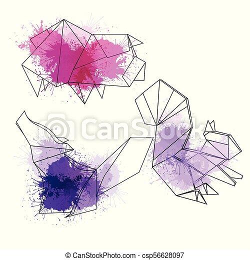 Polygonal Jogo Animais Aquarela Splashes Contorno Polygonal