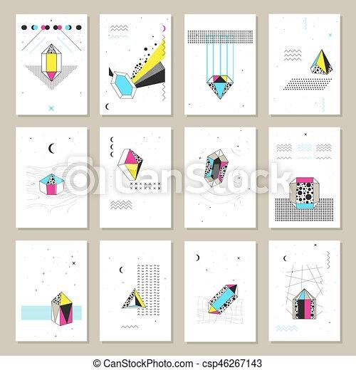 polygonal, kristallen, banieren, verzameling, mini - csp46267143