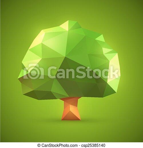 Polygonal Origami Tree Vector Illustration