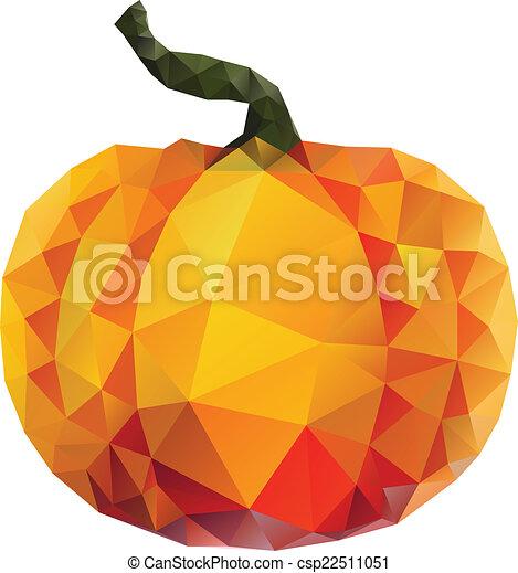 polygonal pumpkin geometric orange pumpkin illustration on white