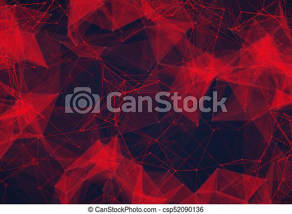 polygonal, résumé, poly, sombre, bas, fond, rouges - csp52090136