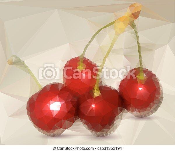 Polygonal red cherries - csp31352194