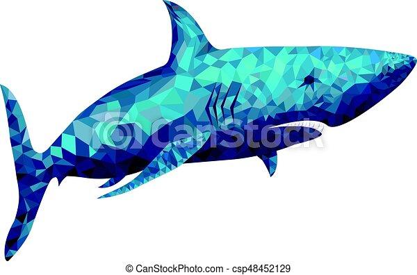 Ilustración de vectores de tiburones poligonales - csp48452129