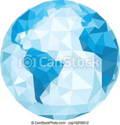 polygonal, vektor, globe., illustration - csp16259612