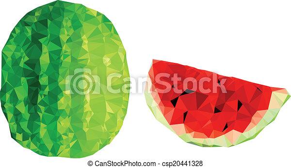 Polygonal Watermelon Illustration - csp20441328