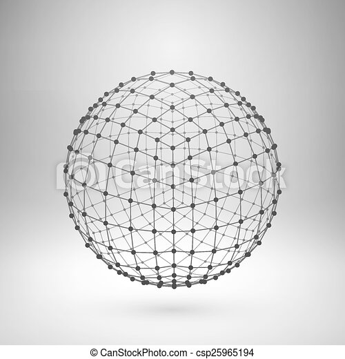 polygonal, wireframe, sphere., maglia - csp25965194