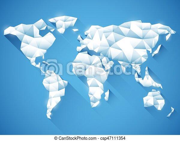 Polygonal world map white polygonal world map on blue background polygonal world map csp47111354 gumiabroncs Images