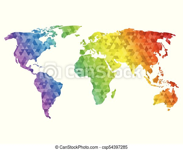 Polygonal world map world map made of full color mosaic of polygonal world map vector gumiabroncs Gallery