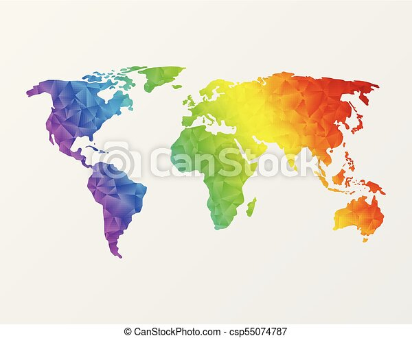 Polygonal world map world map made of full color mosaic of polygonal polygonal world map csp55074787 gumiabroncs Choice Image