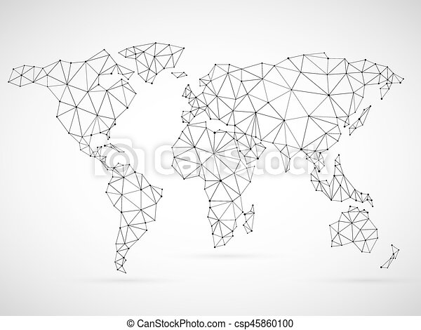 Polygonal world map made of black mesh grid on white vector polygonal world map csp45860100 gumiabroncs Images