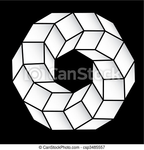 polyhedral figure of a star with gradient vector 3D. - csp3485557