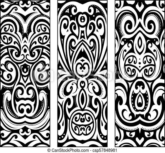 3e04fab6f6531 Polynesian ethnic style ornaments. Maori ethnic ornaments set ...