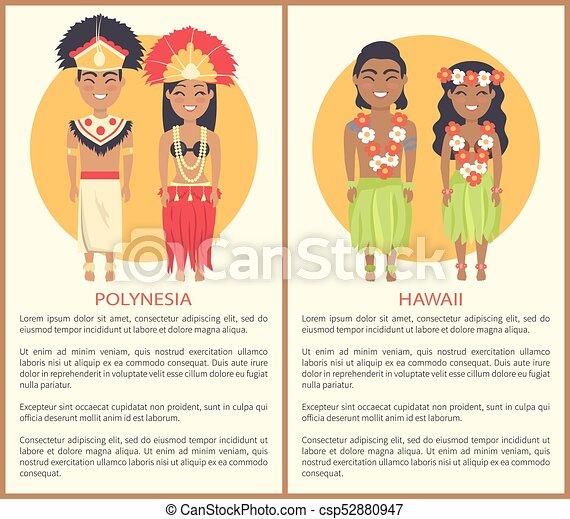 08fd7d544 Polynesian hawaii couple wearing traditional cloth. Polynesian and ...