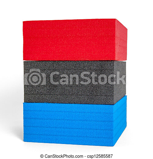 polystyrene forms in colors of the french flag - csp12585587