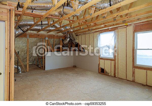 polyurea, trabalho, madeira, espuma, local, telhado, instalar, lã, térmico, sob, isolação, painéis, pranchas - csp59353255