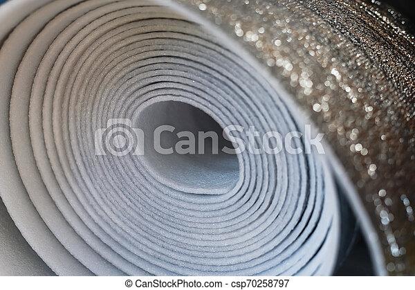 polyurethane, material, cima, isolação, fim, espumou, rolo - csp70258797
