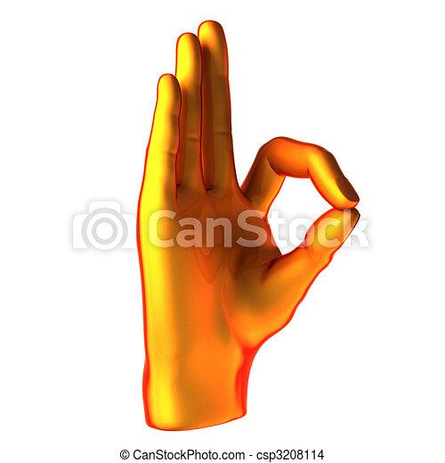 pomarańcza, ok, ręka abstrakcyjna - csp3208114