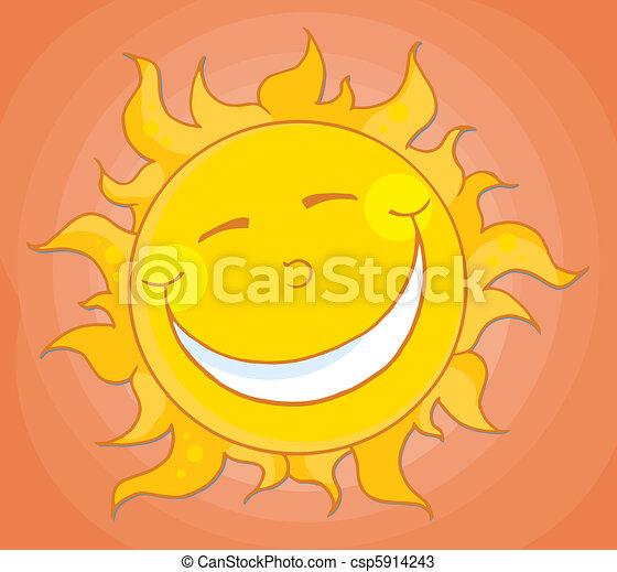 pomarańcza, szczęśliwy, niebo, słońce - csp5914243