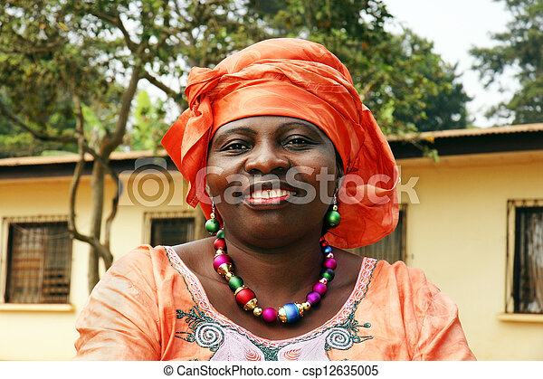 pomarańcza, uśmiechnięta kobieta, szalik, afrykanin - csp12635005