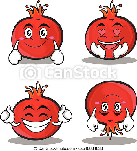 pomegranate cartoon character style set vector illustration vectors rh canstockphoto com pomegranate clip art free pomegranate clipart