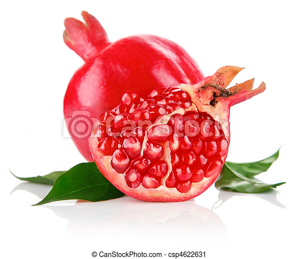 pomegranate fresh fruits with cut and green leaves - csp4622631