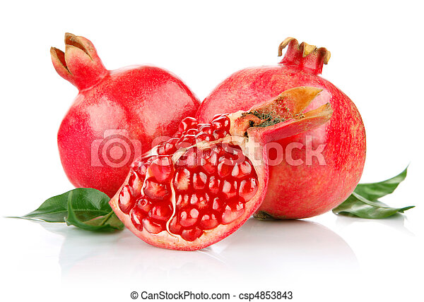 pomegranate fresh fruits with cut and green leaves - csp4853843