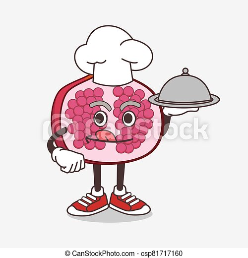 Pomegranate Fruit cartoon mascot character as a Chef with food on tray ready to serve - csp81717160