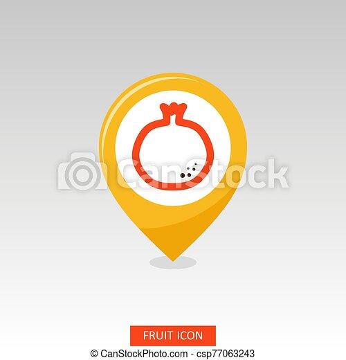 Pomegranate pin map icon. Garnet fruit sign - csp77063243