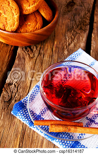 Pomegranate tea with Cookies. - csp16314187