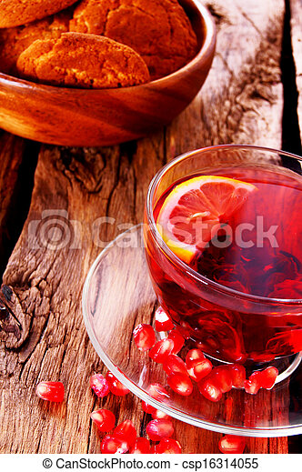Pomegranate tea with Cookies. - csp16314055