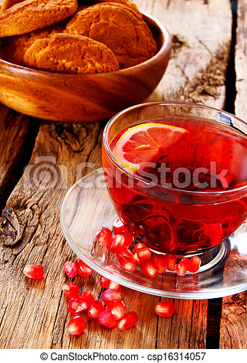 Pomegranate tea with Cookies. - csp16314057