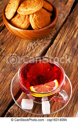 Pomegranate tea with Cookies. - csp16314094