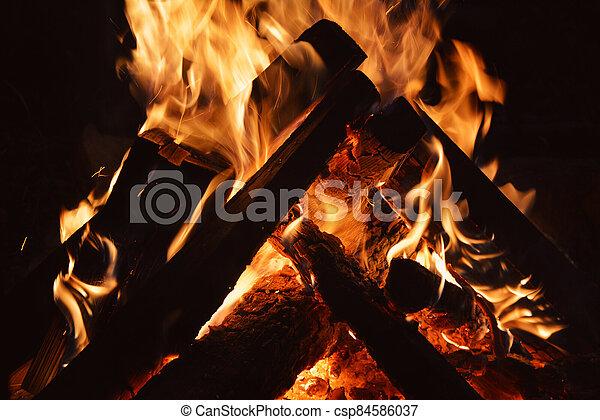 pomeranč, poleno, večer, jas, krb, -, hořící, oheň, dřevěný - csp84586037