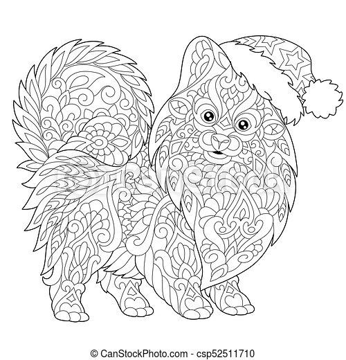 Pomeranian dog in santa hat. Coloring page of pomeranian... vector ...