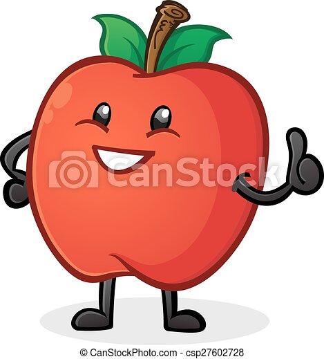 pomme, caractère, haut, pouces, dessin animé - csp27602728