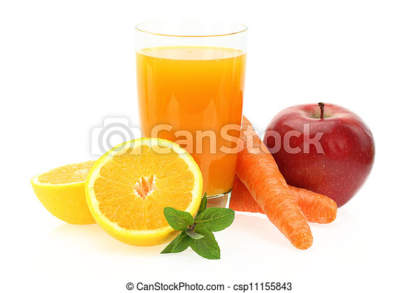 pomme, jus fruit, carotte, orange, frais - csp11155843