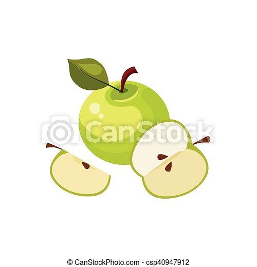 Pomme Nourriture Isolé élément Vert Petit Déjeuner Icône