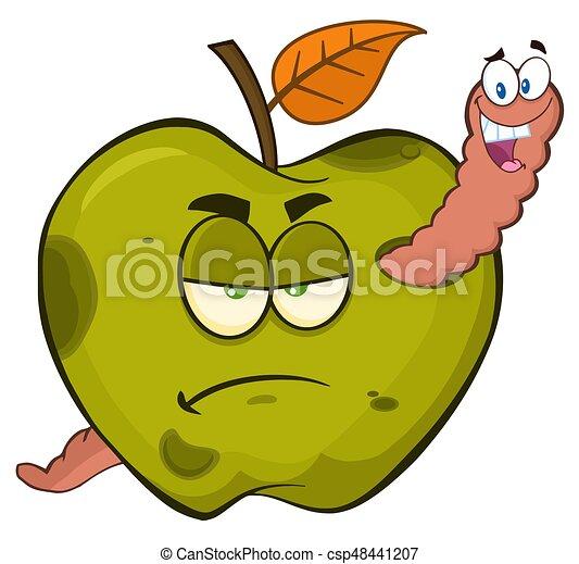 Pomme, ver, pourri, fruit, vert, caractères, grincheux ...