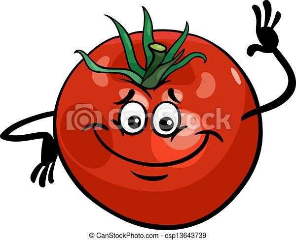 pomodoro, carino, verdura, cartone animato, illustrazione - csp13643739