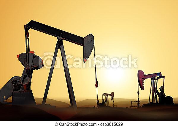 pompa, olio, silhouette - csp3815629