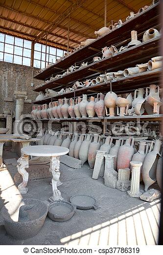 Pompeii antique pottery jugs - csp37786319