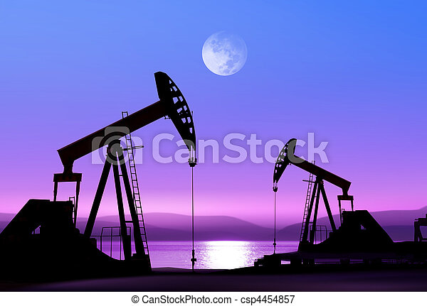 pompes huile, nuit - csp4454857