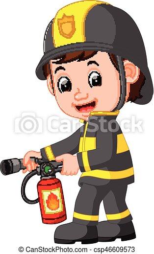 pompier, dessin animé - csp46609573
