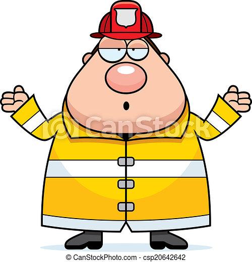 pompiere, confuso, cartone animato - csp20642642