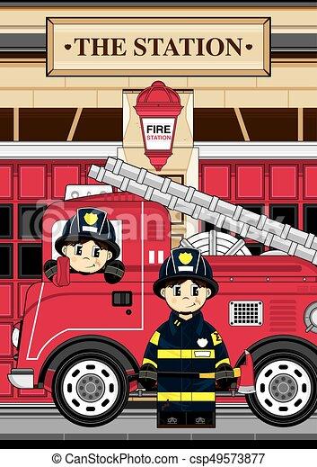Pompiers Camion Dessin Animé