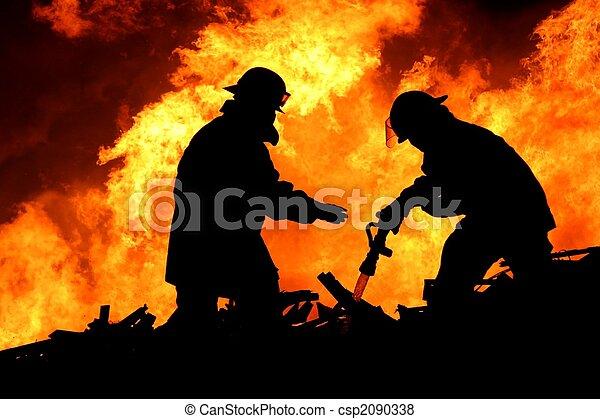 pompiers, courageux, silhouette - csp2090338