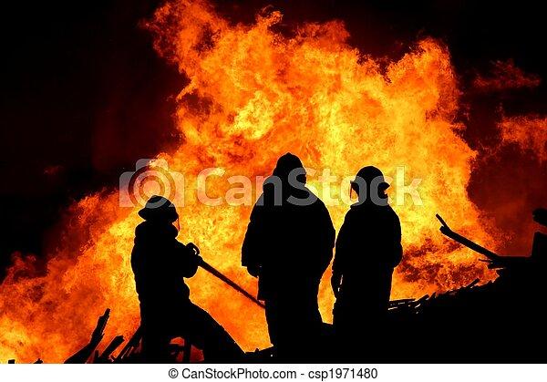 pompiers, trois, flammes - csp1971480