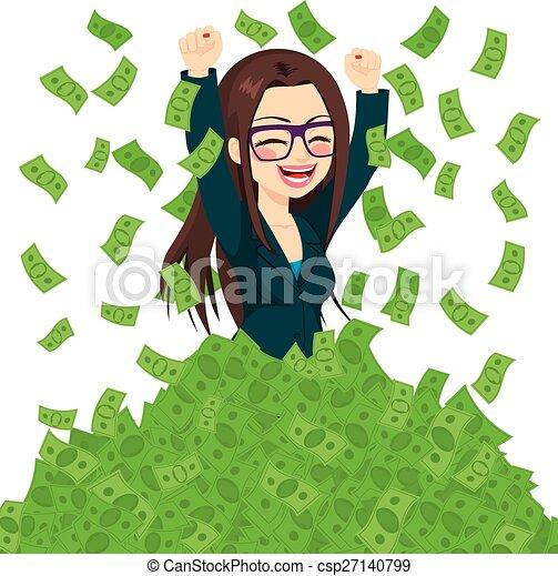 pomyślny, kobieta interesu, wspaniały, bogaty - csp27140799